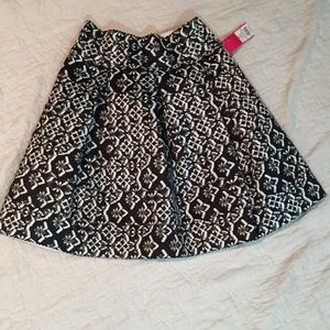 Black and White Pleated A-line Skirt